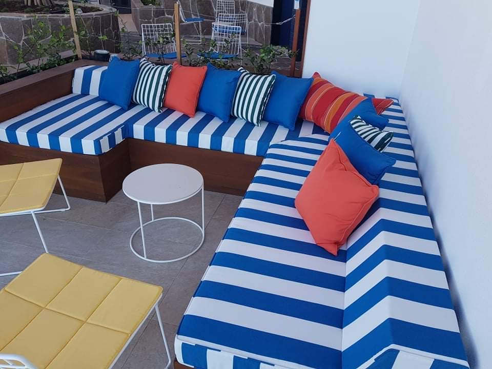 Blue and Red Cushions