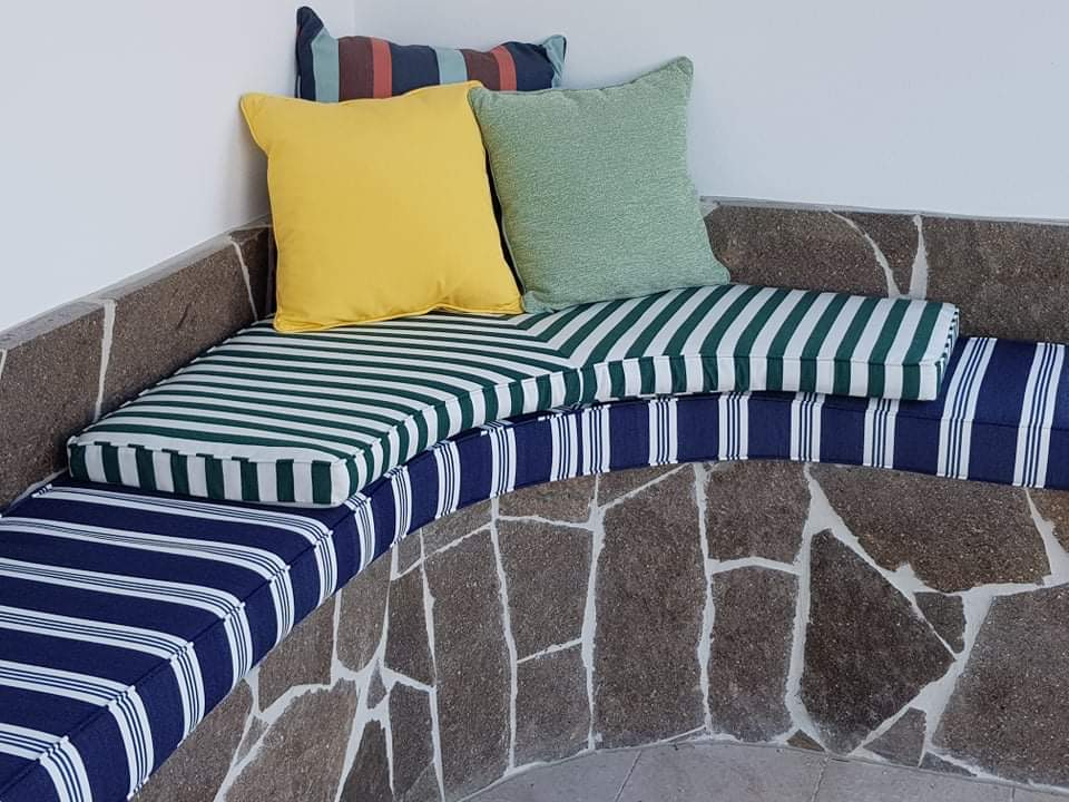 Green, gold and stripe cushions